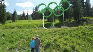 Posing with the rings at the cross-country skiing finish line.