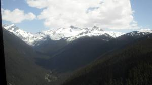 Traveling on the gondola between Whistler and Blackcomb Mountains.