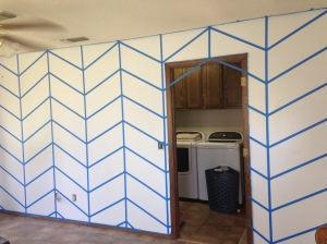 This is what your wall should look like after all diagonal lines have been taped.